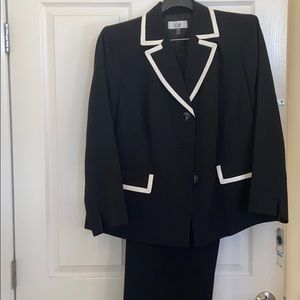 NWT black suit with white trim